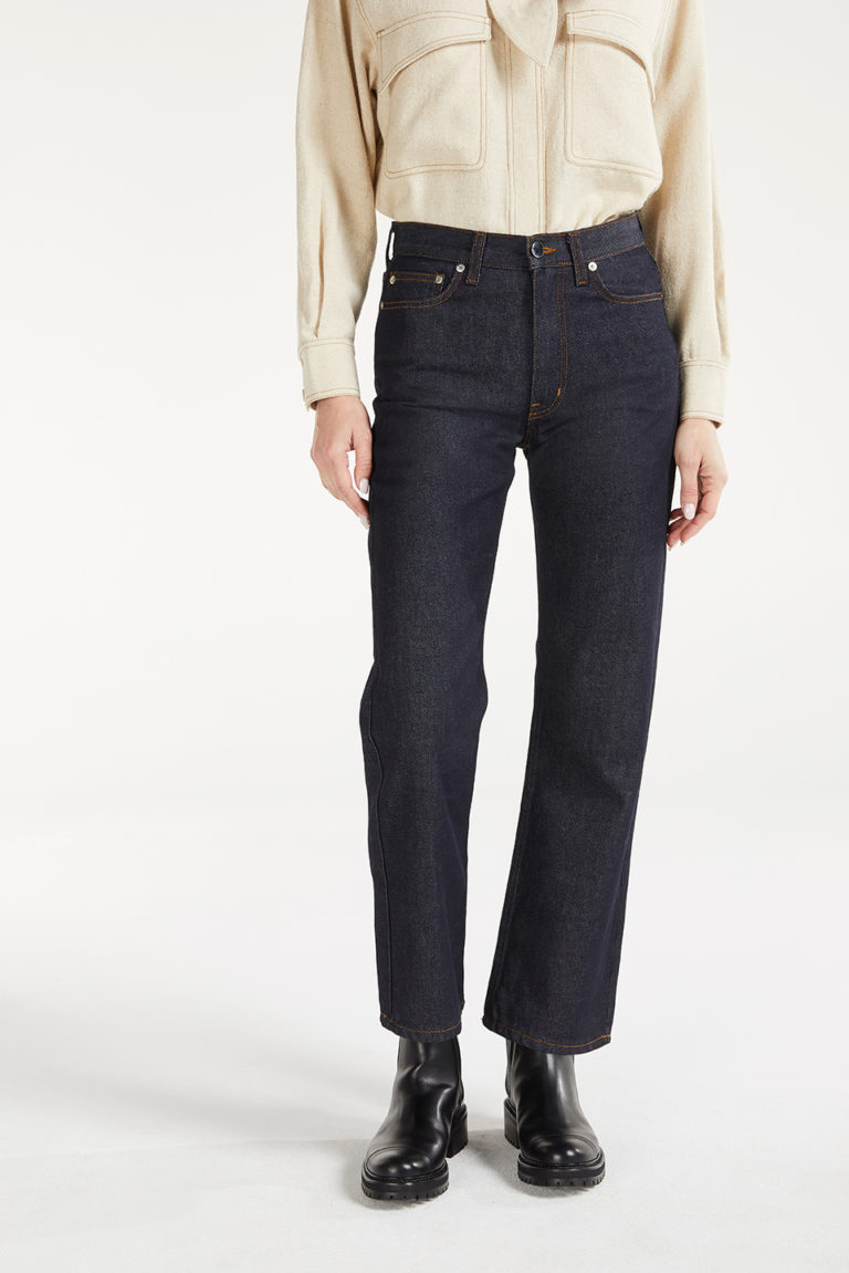 Pantalon Ida Raw Plain Denime en Coton