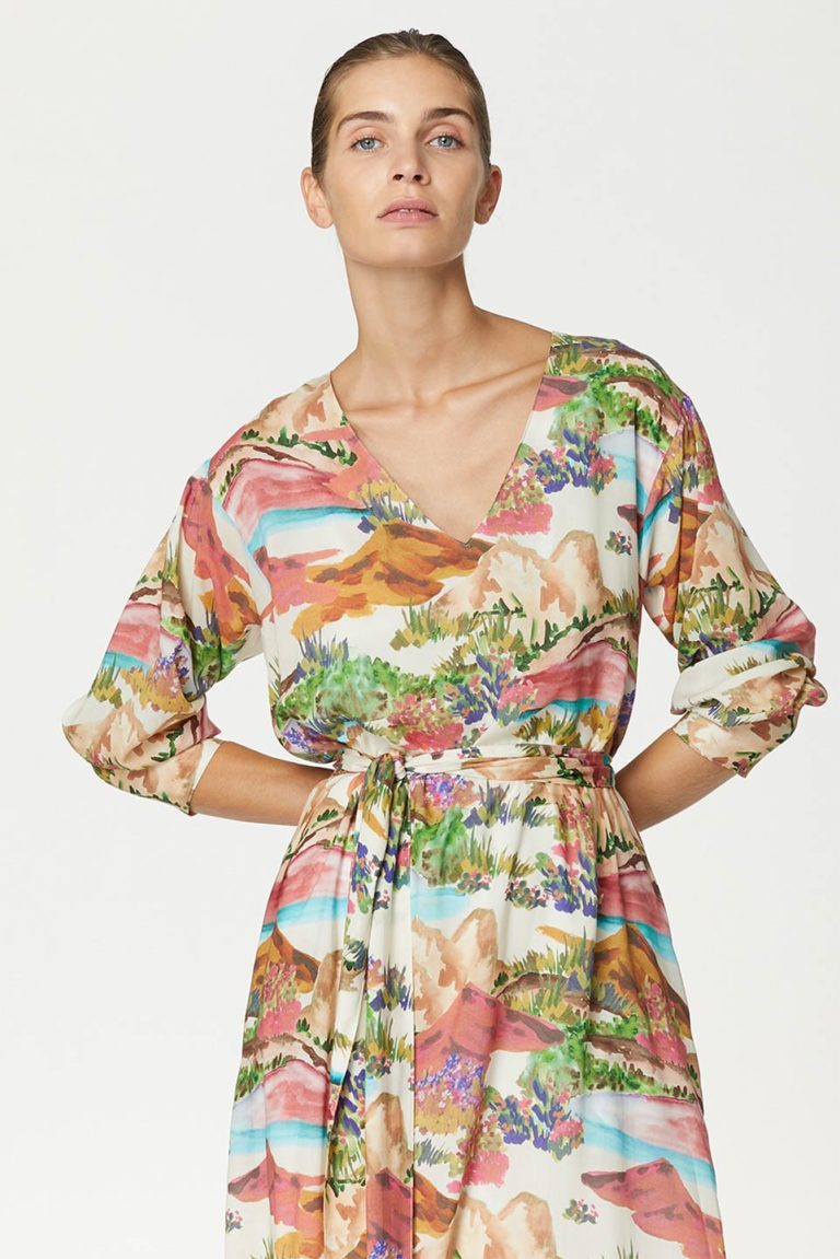 Holy Georgia Print Dress in Tencel