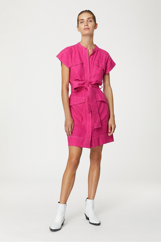 Robe Magda Neon Pink en Bourrette de Soie Valentine Gauthier