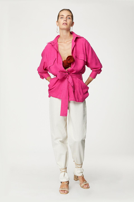 Veste Joe Neon Pink en Bourrette de Soie.