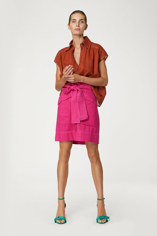 Jupe Iggy Neon Pink en Bourrette de Soie Valentine Gauthier