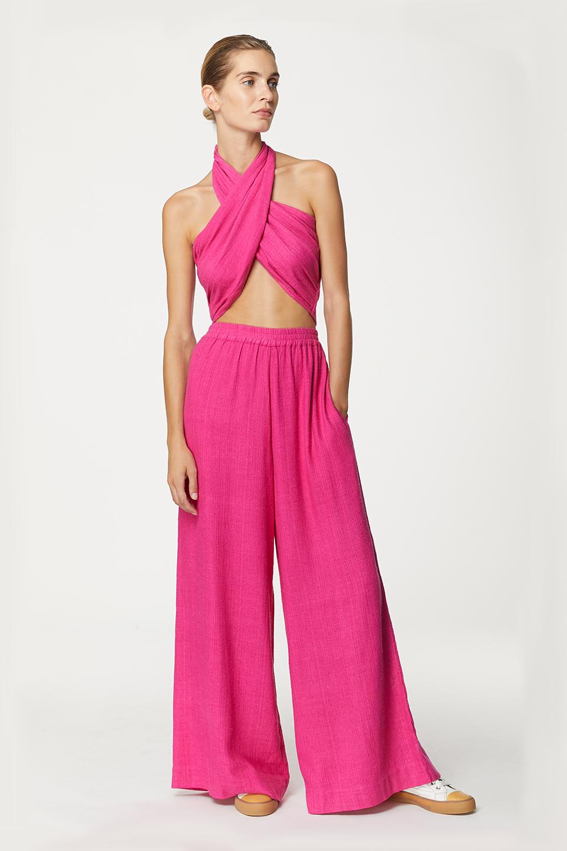 Pantalon Kerguelen Neon Pink en Bourrette de Soie