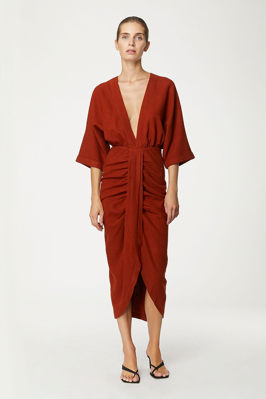 Robe Levant Clay en Bourrette de Soie Valentine Gauthier