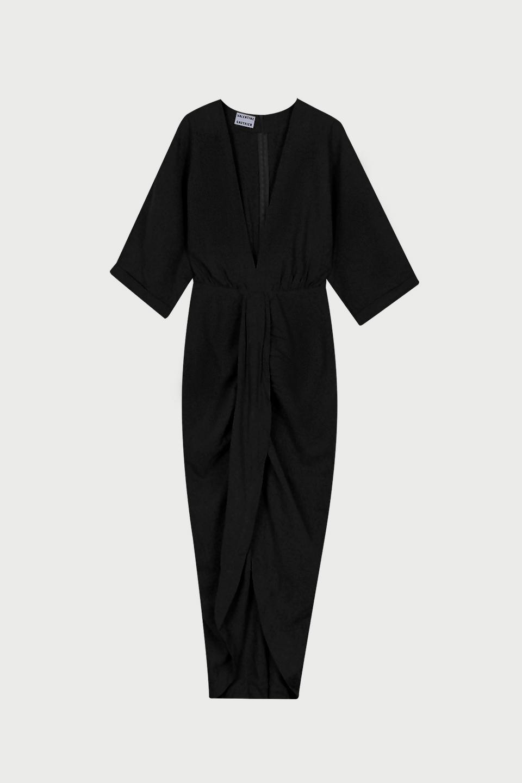 Robe Levant Charcoal en Bourrette de Soie Valentine Gauthier