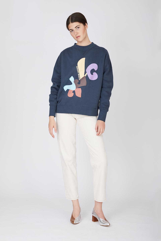Sweatshirt Ulrich Modernism Slate Blue en Coton Bio