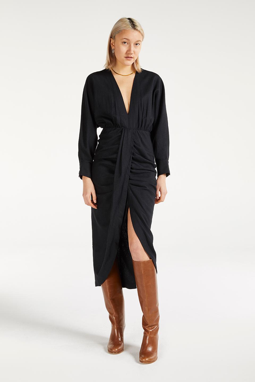 Robe Lust Charcoal en Bourrette de Soie
