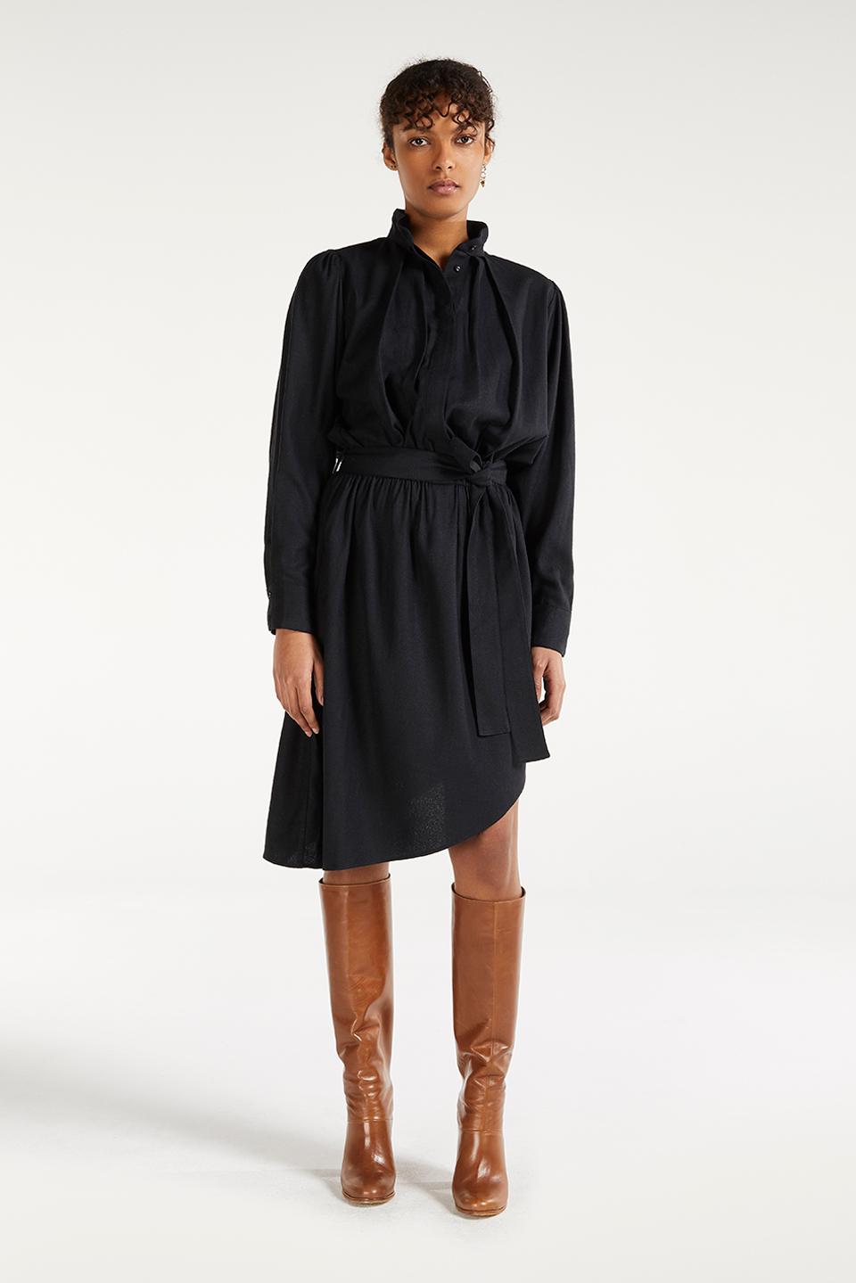 Robe Esther Charcoal en Bourrette de Soie