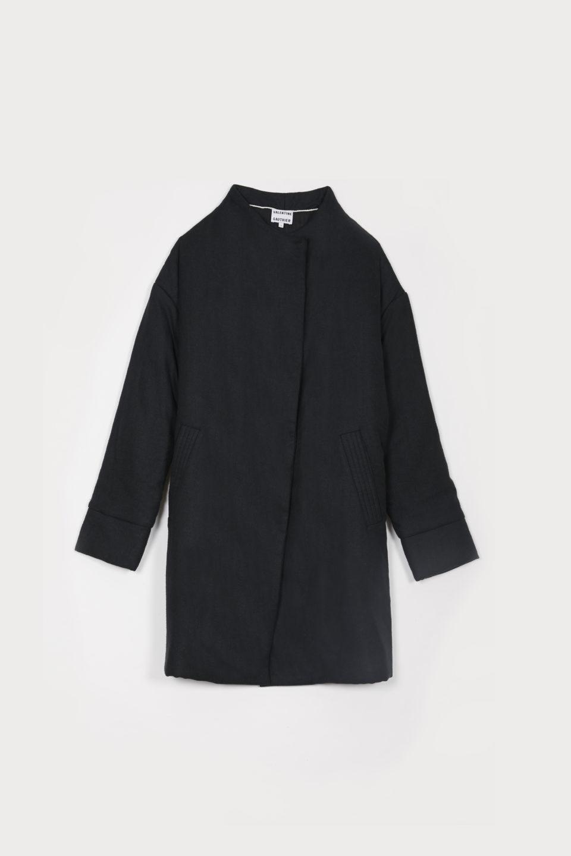 Manteau Linh Charcoal en Bourrette de Soie
