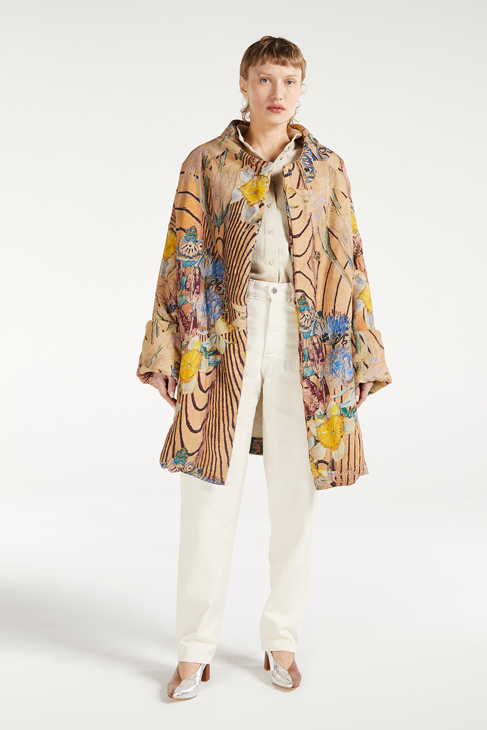 Manteau Linh Brutalism Raw Silk en Bourrette de Soie